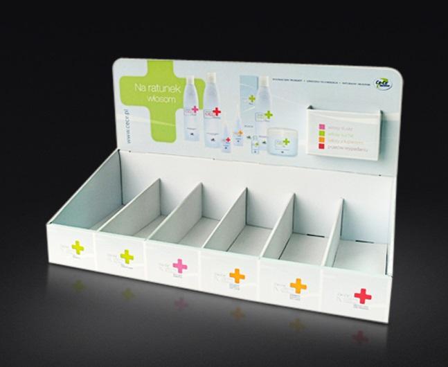 Ekspozytor, display naladowy do saszetek z kieszenią na ulotki, kaszerowany.
