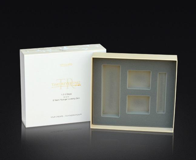 Opakowanie twarde, pudełko z nasuwanym wiekiem, blistr flokowany do pozycjonowania produktów.