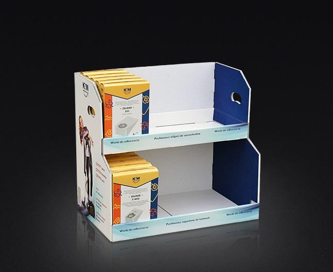 Dwupoziomowy ekspozytor naladowy, kaszerowany, całość składana bez klejowo.
