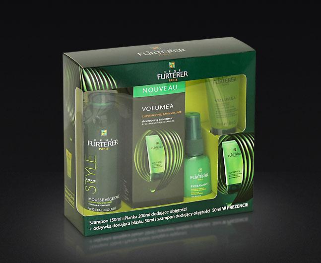 Opakowanie zestawu kosmetyków, okienko bigowane, wkładka pozycjonująca produkty.