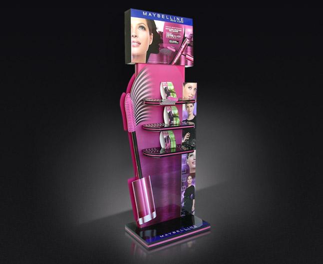 Kartonowy stand z półkami do ekspozycji kosmetyków, wysokość 1700 m.