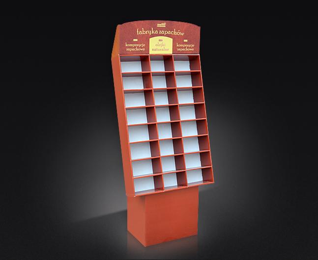 Display kartonowy podłogowy z toperem, kaszerowany, lekka konstrukcja, display składany.