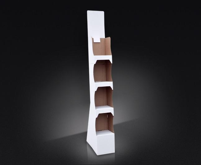 Display podłogowy z toperem, cztery półki, display do bardzo łatwego samodzielnego montażu; tani display do dużych obciążeń.