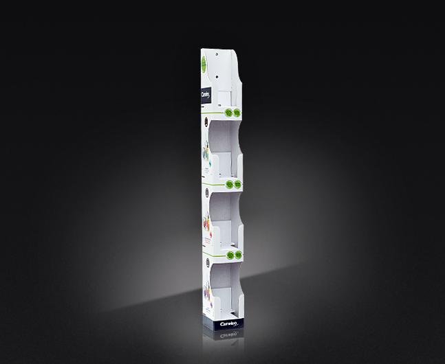 Kartonowy ekspozytor do saszetek, łatwy montaż, możliwość przymocowania do półki lub regału, wysokość 500 mm.