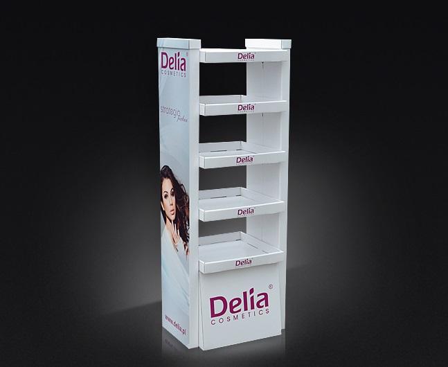 Display kartonowy podłogowy, display pięciopółkowy, dwustronny dostęp do półek.