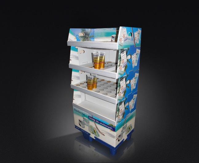 Display kartonowy podłogowy z toperem, display modułowy, ćwierć palety, kaszerowany; lekka i ekonomiczna konstrukcja.