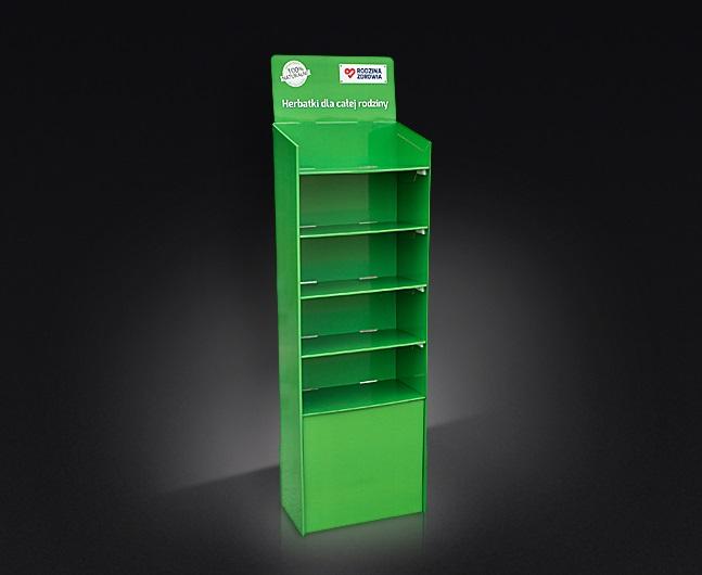 Display kartonowy, podłogowy, powierzchnia 260 x 440 mm, bardzo łatwy montaż, półki mocowane na plastikowe zaczepy.